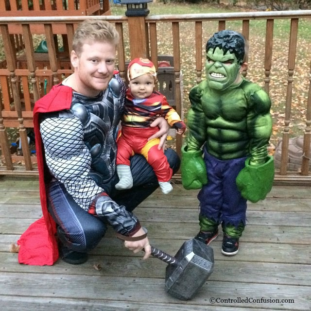 My oldest has been really into Avengers. Last year he decided to dress as the Hulk so we put our baby in Iron Man and my husband dressed up as Thor.  sc 1 st  Controlled Confusion & Family Halloween Costumes | Controlled Confusion