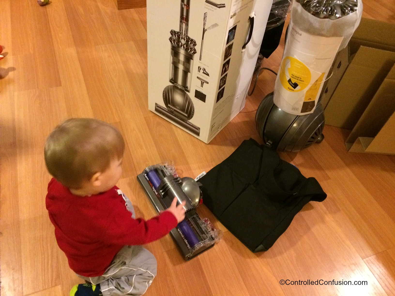 Wordless Wednesday- Teaching Them Early- Dyson Vacuum